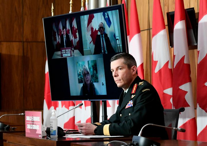 Maj.-Gen. Dany Fortin, vice-president of logistics and operations at the Public Health Agency of Canada, participates in a news conference on the COVID-19 pandemic in Ottawa, on Jan. 15, 2021.