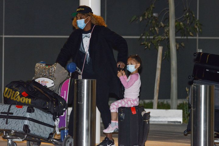Serena Williams and her daughter Olympia arrive in Adelaide on January 14 before heading to quarantine for two weeks.