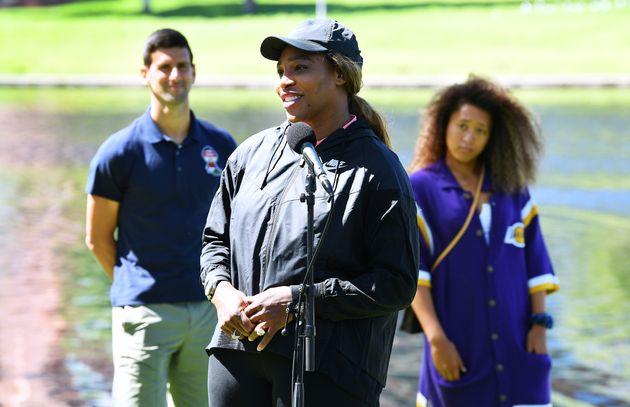 Serena Williams speaks to media at Memorial Drive on January 29, 2021 in Adelaide, Australia.