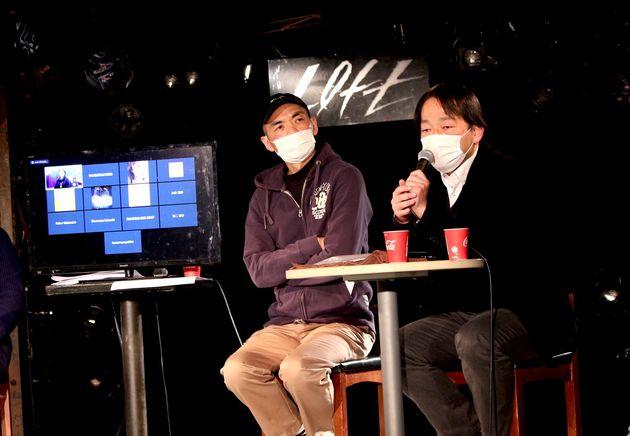 <左から>加藤梅造さん(ロフトプロジェクト社長)、馬奈木厳太郎さん(弁護士・プロデューサー)