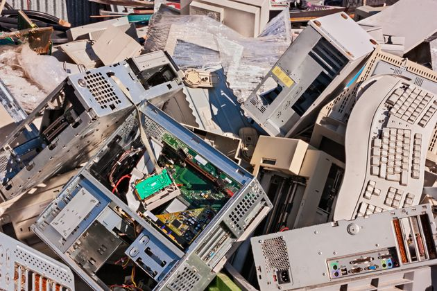 electronic waste: old computers, monitors and other devices to
