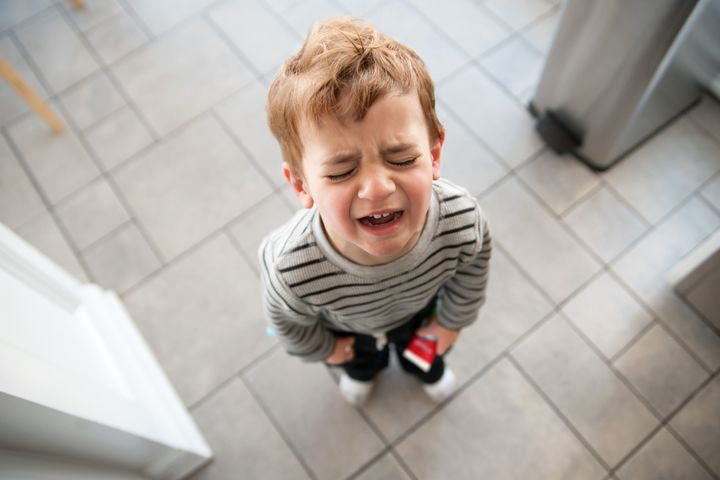 Toddler upset and crying.