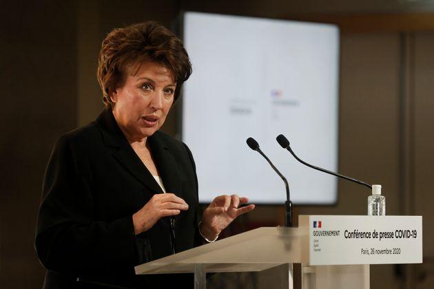 La ministre de la culture Roselyne Bachelot lors d'une conférence de presse sur le Covid-19 à...
