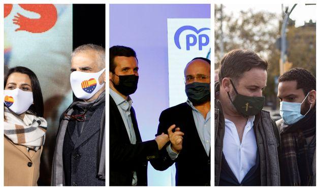 Los principales candidatos el 14F de Cs, PP y Vox (Carlos Carrizosa, Alejandro Fernández e Ignacio Garriga) con sus líderes nacionales.