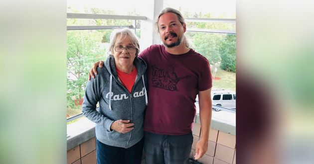 Jeremy Taggart with his mother Beryl, who lives at Roberta Place and recently tested positive for COVID-19.