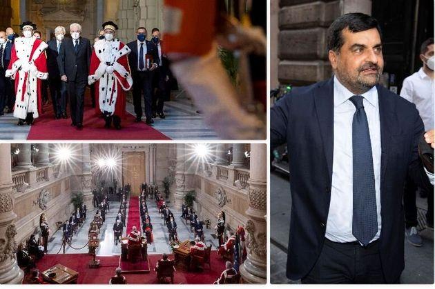 A sinistra due immagini dell'inaugurazione dell'anno giudiziario 2021 in Cassazione - a destra Luca