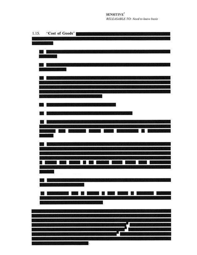 Des pages entières du contrat avec Astrazeneca ont parfois été