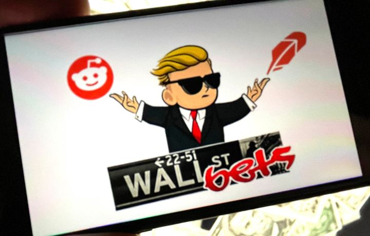 The logo of the r/WallStreetBets subreddit, seen on an iPhone screen.