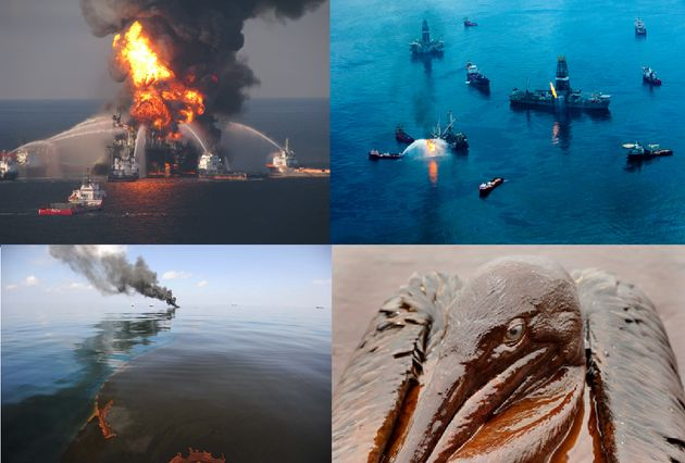 Εικόνα 1: Οι προσπάθειες κατάσβεσης και οι περιβαλλοντικέ επιπτώσεις του ατυχήματος στην εξέδρα Deepwater Horizon [3], [4].