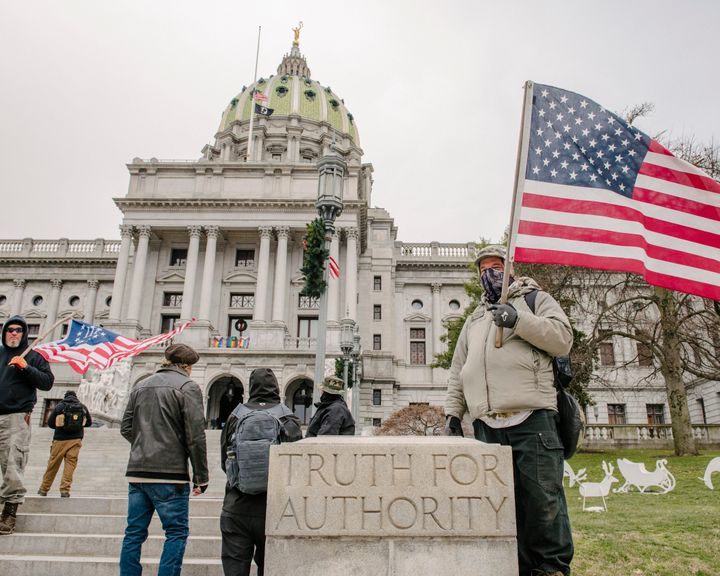 Protesters rallied outside the Pennsylvania state Capitol in Harrisburg on Jan. 6 — the same day insurrectionists invaded the U.S. Capitol in Washington, D.C. — to demonstrate against the certification of Electoral College votes because of baseless allegations of voter fraud.