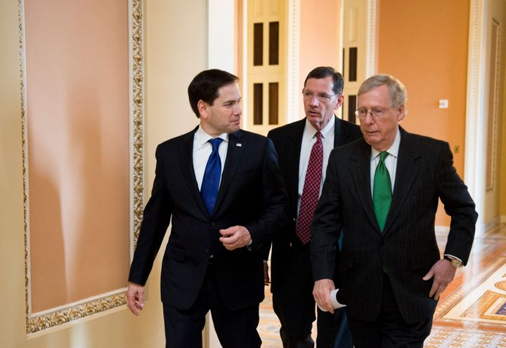 U.S. Sens. Mitch McConnell of Kentucky (right) and Marco Rubio of Florida (left) are two Republicans who spent the last four years enabling Trump but have nevertheless earned the anger of some GOP officials in their states for refusing to fully go along with the former president's effort to overturn the election he lost.