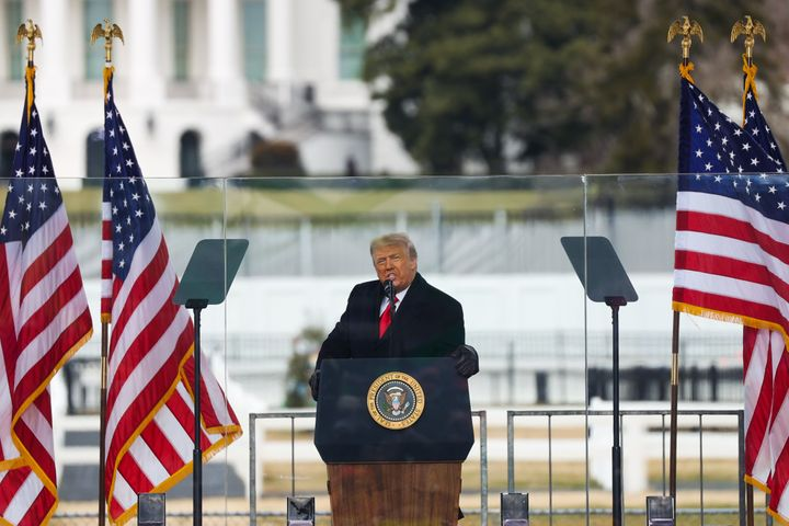 "Then-President Donald Trump speaks at his ""Save America March"" rally in Washington on Jan. 6, 2021 ― right before rioters sto"