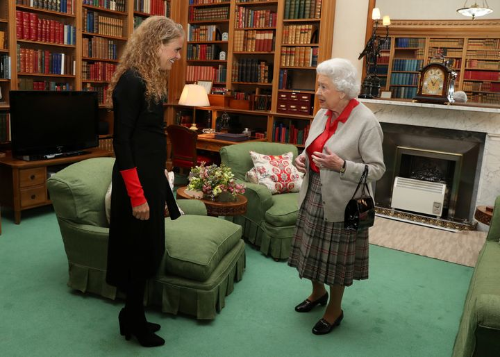 Julie Payette meets Britain's Queen Elizabeth during a private audience at Balmoral Castle, Scotland on Sept. 20, 2017.