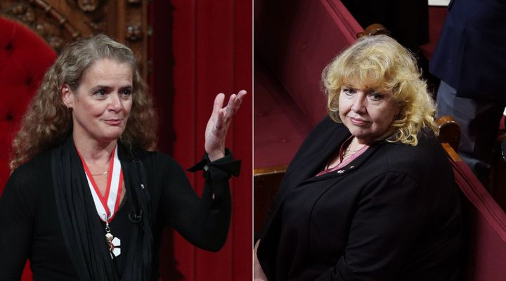 """File photos of Julie Payette and Lynn Beyak taken in 2017 and 2019, respectively. Payette resigned on Jan. 21 over allegations she and her secretary, Assunta Di Lorenzo, fostered a """"toxic"""" workplace environment at Rideau Hall. Beyak resigned announced her immediate retirement Monday."""