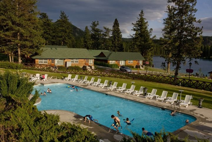 The outdoor pool and cabins at the Fairmont Jasper Park Lodge are seen in this 2009 photo.