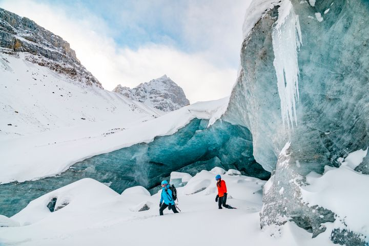 Hikers on a glacier in the Columbia Icefield, near Jasper, Alta.