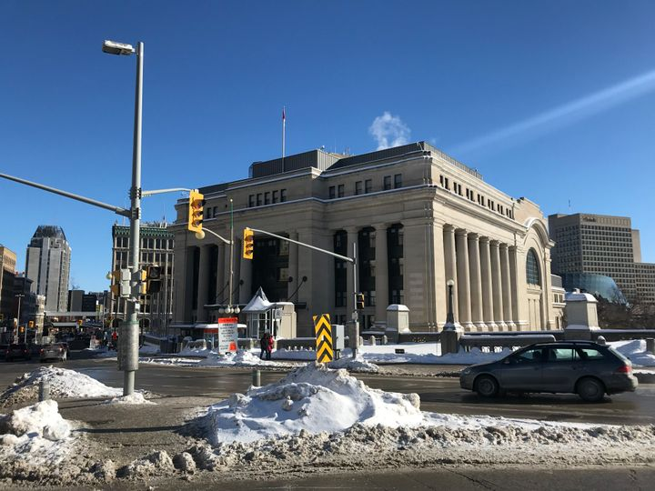 A view is seen of Ottawa's old train station which has been converted into a temporary Senate, while parliament undergoes renovation on Jan. 28, 2019 in Ottawa.
