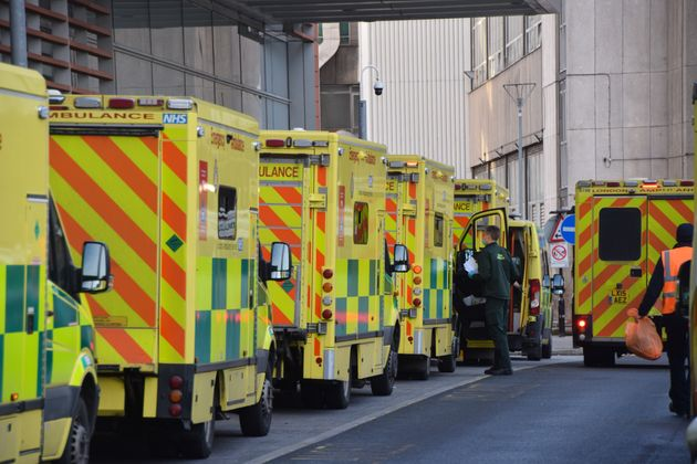 Ambulances in a queue outside the Royal London