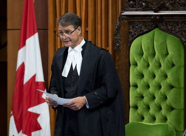 Speaker of the House of Commons Anthony Rota rises in the chamber as he delivers a statement in the House...