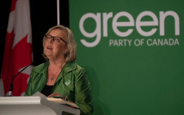 Former Green party leader Elizabeth May speaks ahead of the party's leadership announcement in Ottawa...