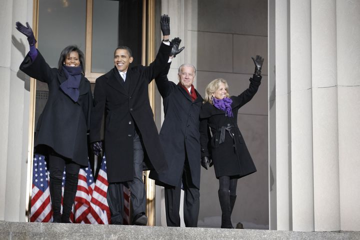 In this file photo, then-President-elect Barack Obama, his wife Michelle and then-Vice President elect Joe Biden and his wife