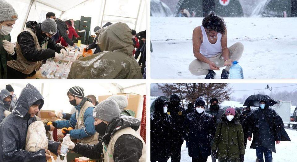 """""""Le condizioni in cui vivono più di un migliaio di persone nel campo profughi di Lipa sono..."""
