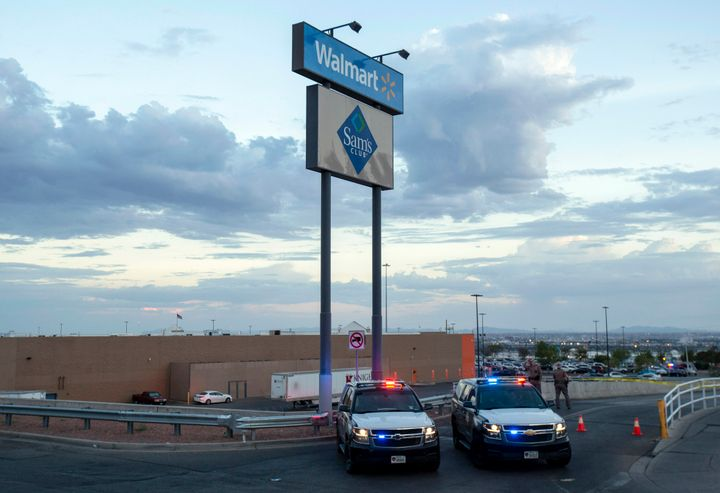 Texas state police cars are seen at the El Paso Walmart where a gunman opened fire and killed 22 people on Aug. 3, 2019.