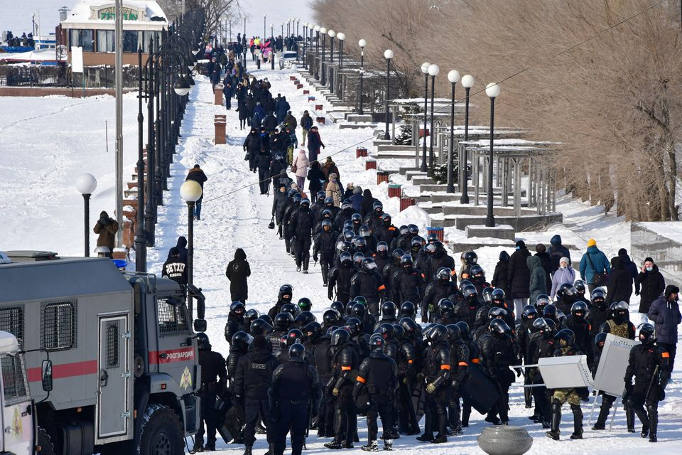 VLADIVOSTOK, RUSSIA - JANUARY 31, 2021: Riot police are seen during an unauthorised protest in support...