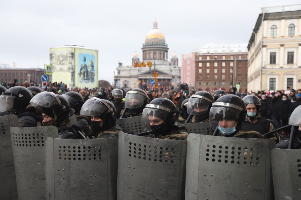 SAINT PETERSBURG, RUSSIA - JANUARY 31: Police officers take security measures during the Freedom to Alexei...