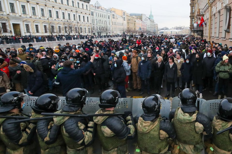 ST PETERSBURG, RUSSIA - JANUARY 31, 2021: Riot police officers guard the area outside the St Petersburg...