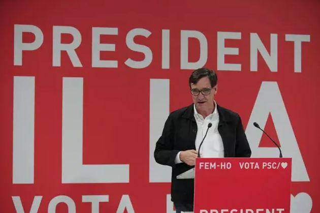 El candidato del PSC a la Presidencia de la Generalitat, Salvador Illa, en un acto telemático desde Tortosa (Tarragona).