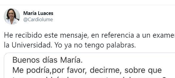 El tuit de María Luaces.