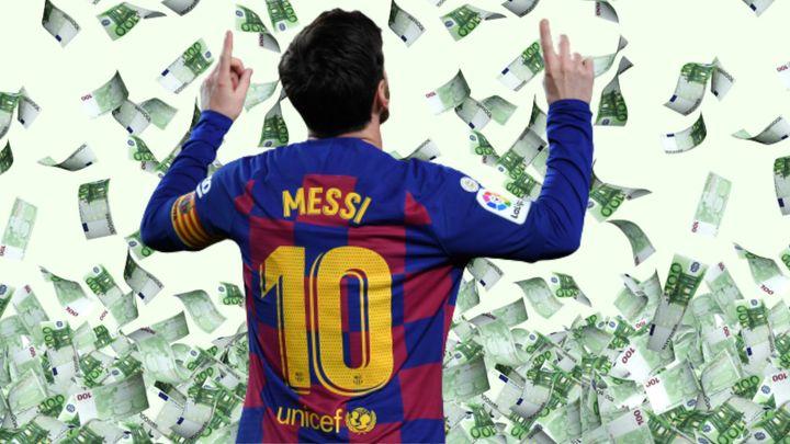 Messi, rodeado de dinero.