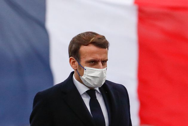Le Président Emmanuel Macron adresse ses vœux aux armées, le 19 janvier 2021. (Photo...