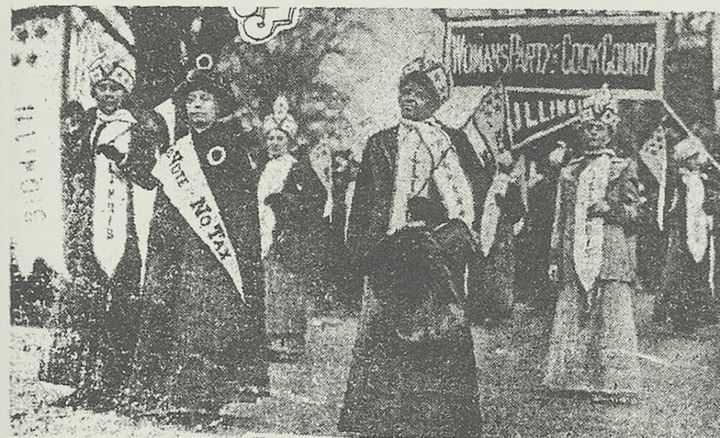 Ida B. Wells in a 1913 suffrage march in Washington, D.C., as seen in the Chicago Daily Tribune. <em>Chicago Daily Tribune</em>