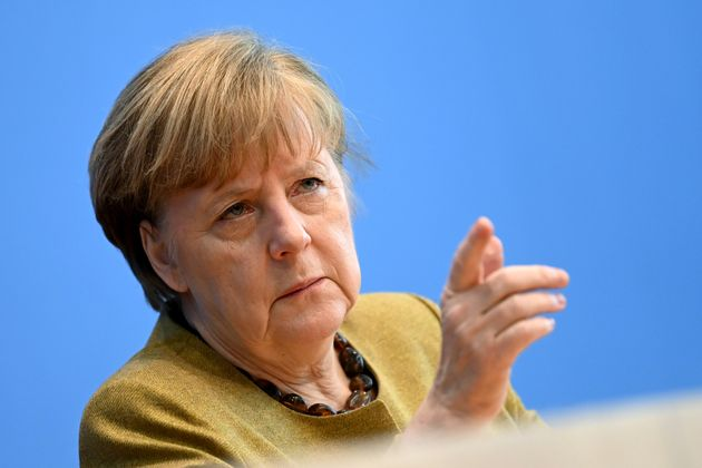 BERLIN, GERMANY - JANUARY 21: German Chancellor Angela Merkel speaks to the media during a press conference...