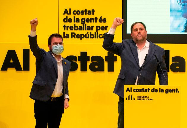 Pere Aragonès y Oriol Junqueras, en un acto de