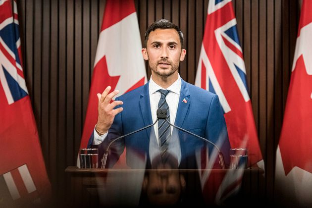 Ontario Minister of Education Stephen Lecce makes an announcement at Queen's Park in Toronto on Aug,...