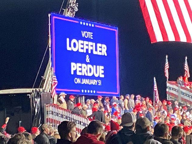 President Donald Trump ostensibly raised money to help Republican sensators Kelly Loeffler and David...