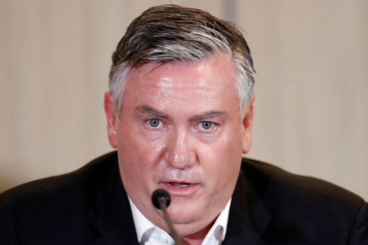 Collingwood President Eddie McGuire speaks to the media at Collingwood Magpies AFL press conference at the Glasshouse Event Space on February 01, 2021 in Melbourne, Australia.