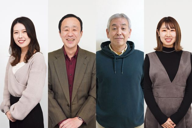 左から清水悠加さん(24歳)、増根徹さん(58歳)坂井惠さん(66歳)、中川映見さん(25歳)