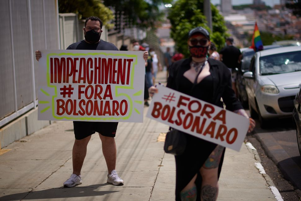 Protest against the government of Brazilian President Jair Bolsonaro, this Saturday afternoon, 23 January...