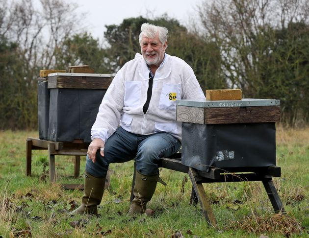 Murfet sits amongst some of his hives in an orchard near Canterbury in