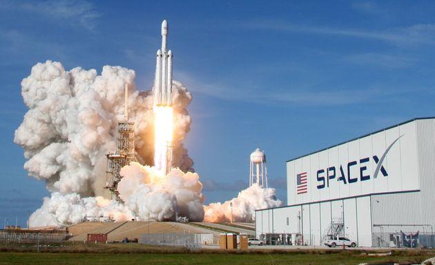 Une fusée Falcon 9 de la société SpaceX, le 6 février 2018 à Cap Canaveral