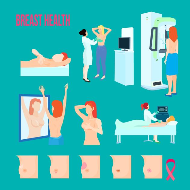 Colored flat and isolated breast disease icon set with different disease and ways to treat and recognize...