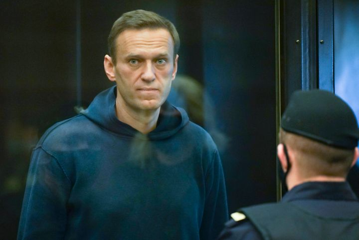 In this handout photo provided by Moscow City Court, Russian opposition leader Alexei Navalny stands in the cage during a hea