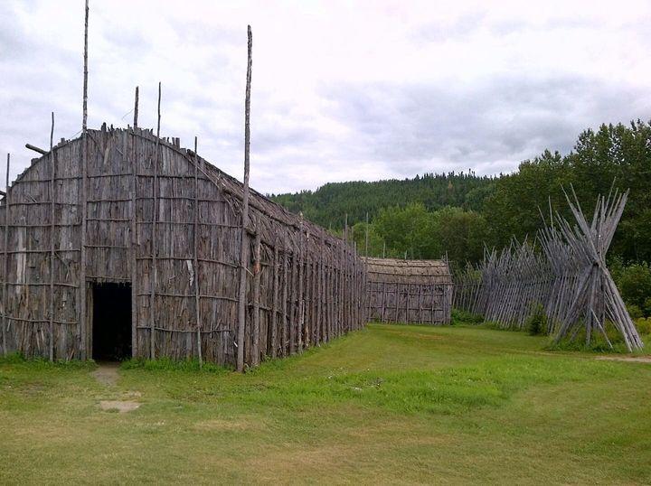Reconstruction of an Iroquois longhouse in Saint-Félix-d'Otis, Que.