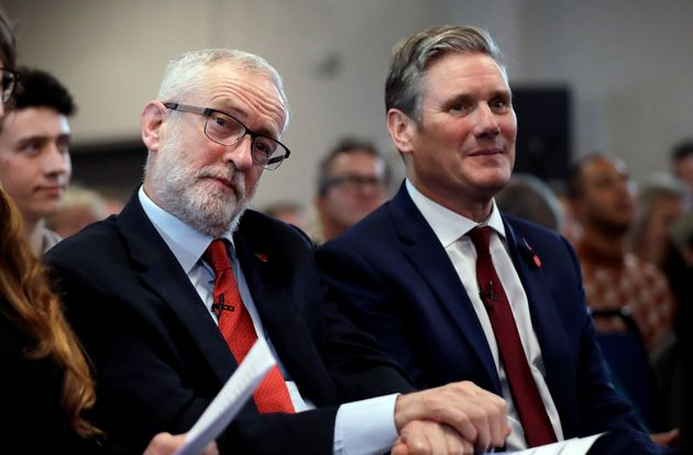 Former leader Jeremy Corbyn, with Keir Starmer in
