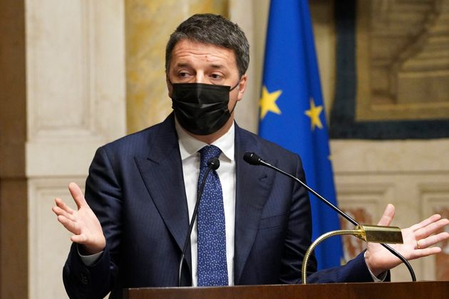 The secretary of Italia Viva party Matteo Renzi during the press conference at the end of the consultation...