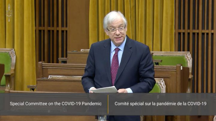 Liberal MP Scarpaleggia speaks in the House of Commons chamber during a meeting of the special committee on the COVID-19 pandemic on May 6, 2020.